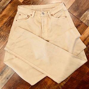 FREE PEOPLE Levi's 501 Vintage Cream Jeans